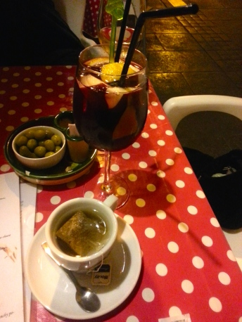 After work drinks! Vocal noudles do not keep me from a sangria! And see, I have tea too.